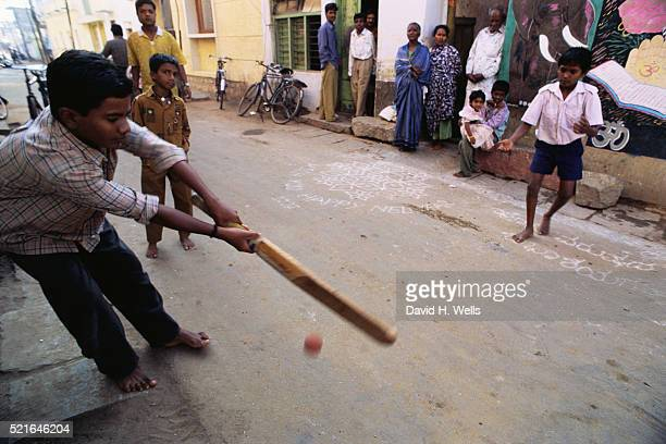 Kids Playing Cricket in the Street