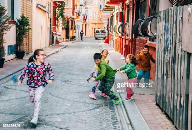 Kids playing in street of Balat, Istanbul, Turkey