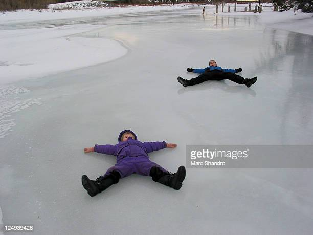 Kids playing on ice
