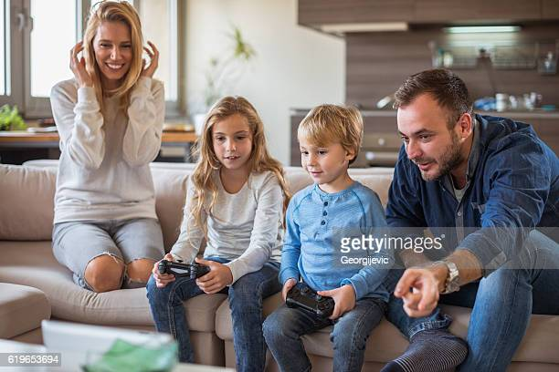 Kids playing video games