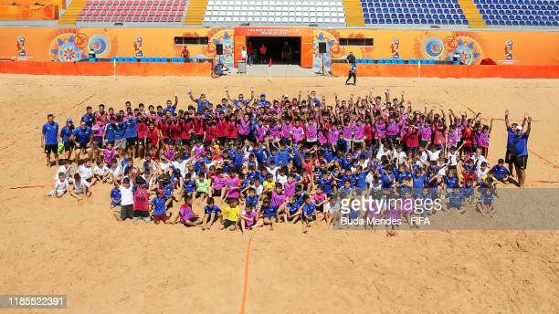Kids practice Beach Soccer at the Grassroots Festival FIFA Beach Soccer World Cup Paraguay 2019 on November 29, 2019 in Asuncion, Paraguay.