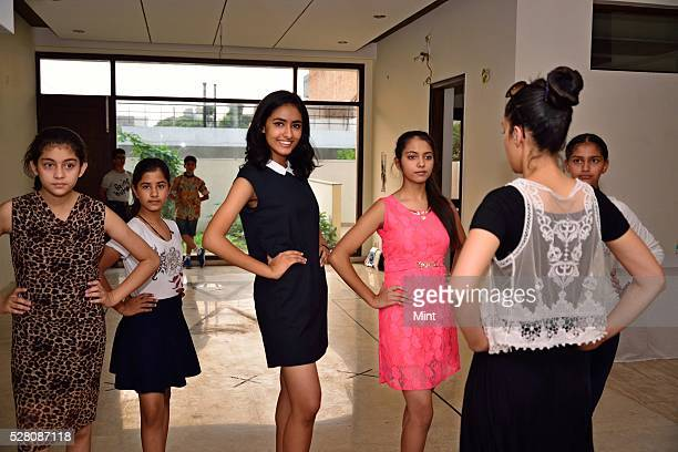 Kids Practicing for the PreTeen Beauty Pageants on October 11 2015 in Chandigarh India
