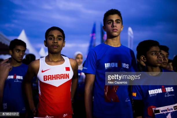 Kids prepare before Ironkids race ahead of IRONMAN 703 Middle East Championship Bahrain on November 24 2017 in Bahrain Bahrain