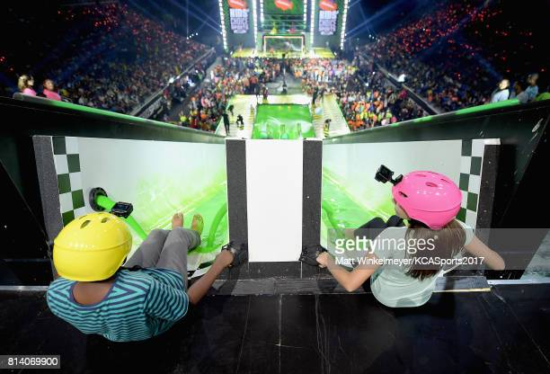 Kids prepare to slide down slime slide during Nickelodeon Kids' Choice Sports Awards 2017 at Pauley Pavilion on July 13 2017 in Los Angeles California