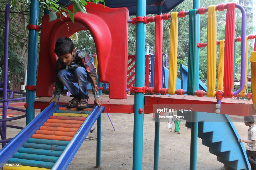 Kids rejoice with a full swing at Kachrali Lake Gardens before re-opening of the schools, on June 13, 2018 in Mumbai, India.