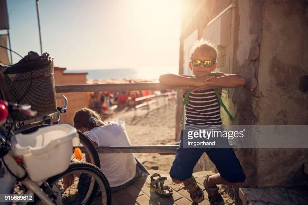 Kids returning from beach