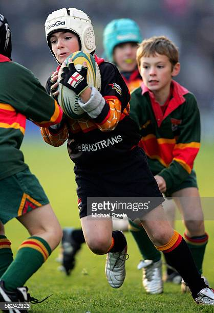 Kids rugby at half time during the Guinness Premiership match between Leeds Tykes and Northampton Saints on November 20 2005 in Leeds