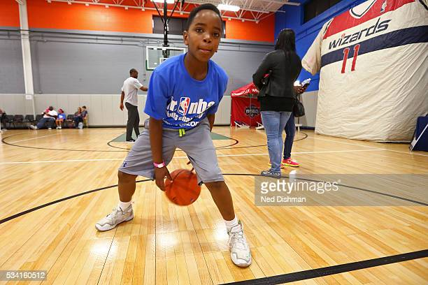 Kids run drills during a Jr NBA Skills Challenge on May 22 2016 in Washington DC NOTE TO USER User expressly acknowledges and agrees that by...