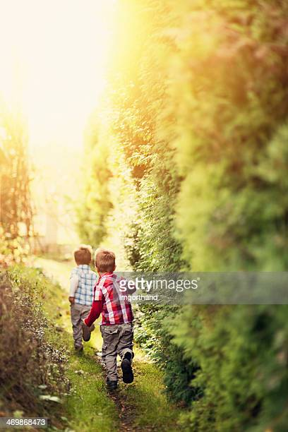 Kids running on a secret garden path.