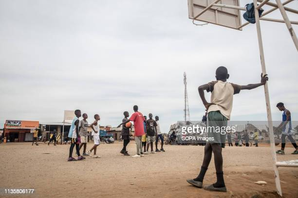 Kids seen playing basketball in Nakivale refugee settlement south west Uganda. Nakivale was established in 1958 and officially recognized as a...