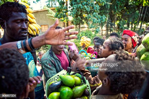 Kids selling fruits on the Street side, Ethiopia