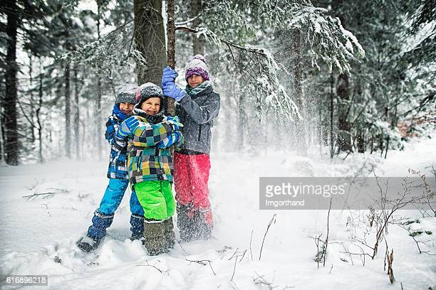 Kids shaking snow off trees in winter forest.