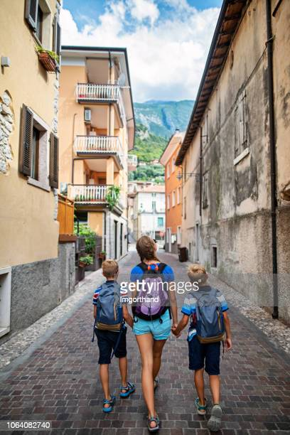 kids sightseeing malcesine, italy - malcesine stock pictures, royalty-free photos & images