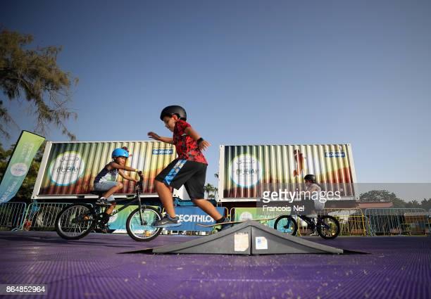 Kids take part during the Dubai Fitness Challenge Opening Carnival at Safa Park on October 21 2017 in Dubai United Arab EmiratesThe inaugural Dubai...