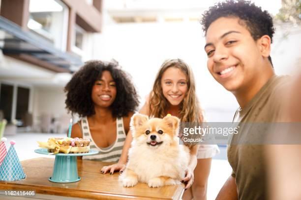 miúdos que tomam um selfie na festa de anos do cão - photo messaging - fotografias e filmes do acervo