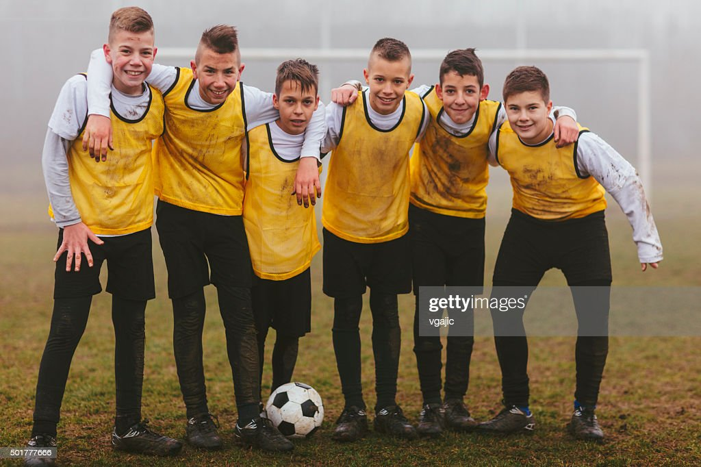 Kids Team Photo After Playing soccer. : Stock Photo