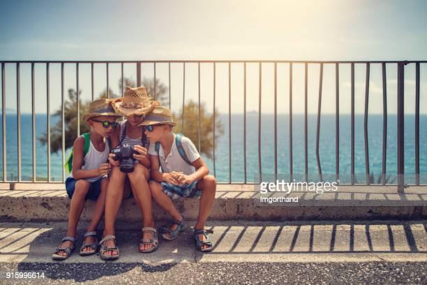Kids tourists sightseeing italian city of Piombino