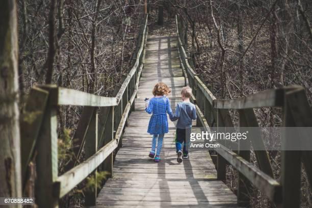 Kids walking across Bridge