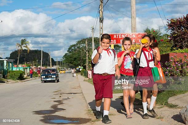Kids walking home from school in Viñales, Cuba