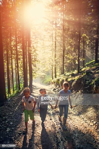 Kinderen lopen in het bos na de regen