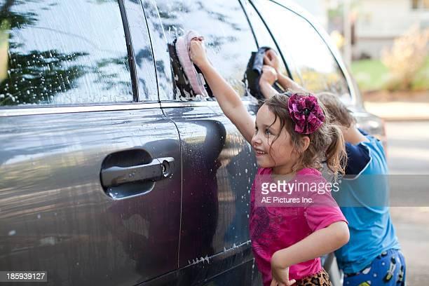 Kids washing the car