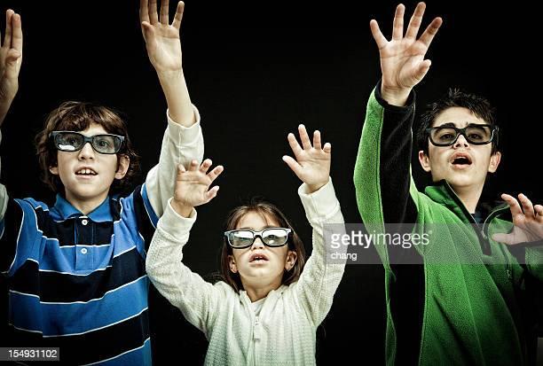 Kids watching 3-D movies