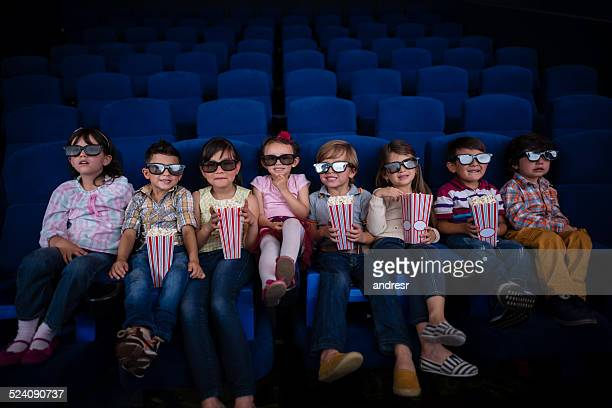 Kids watching a 3D movie