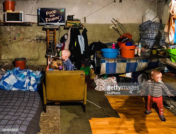 Kids watching cartoons in a room inside the bunker Last 12 and 15 of April 2015 with the help of Tomas Vlach emergency coordinator for the NGO...