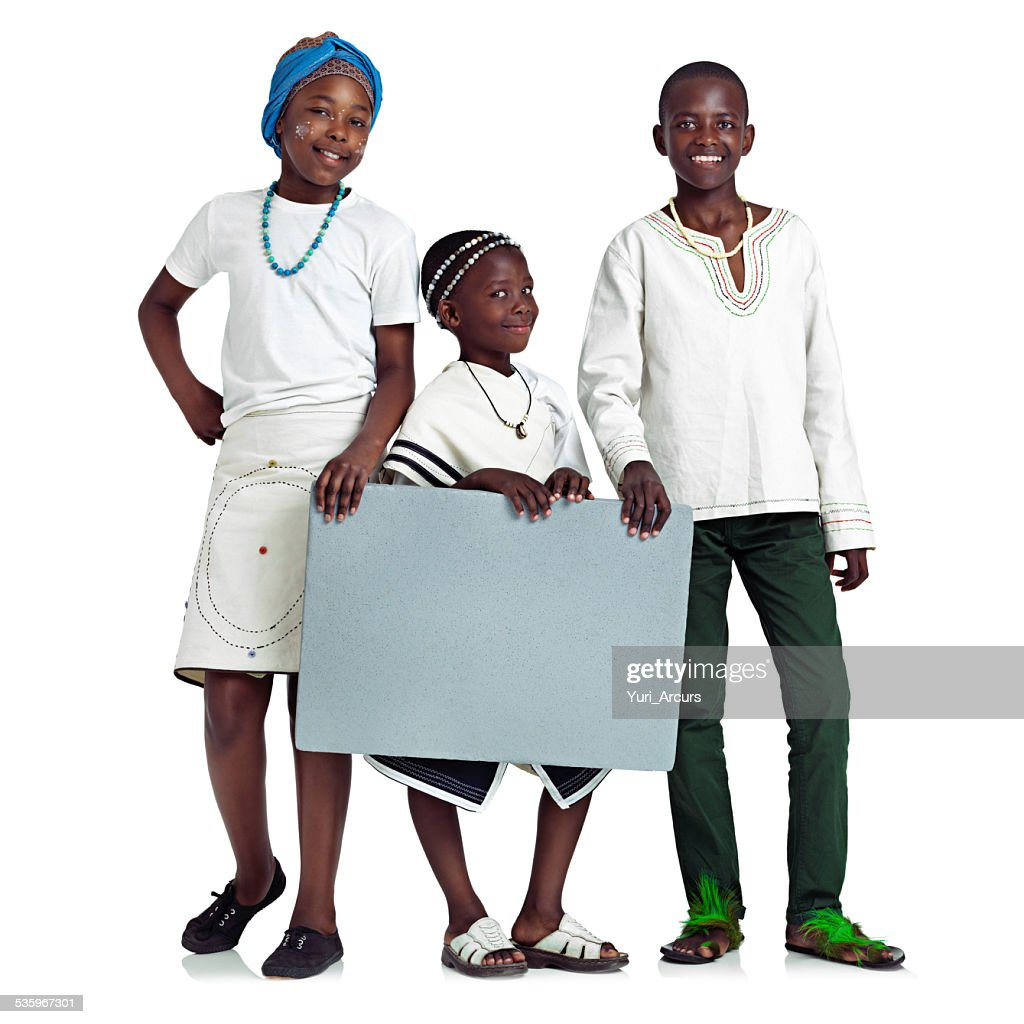 Kids with an important message! : Stock Photo