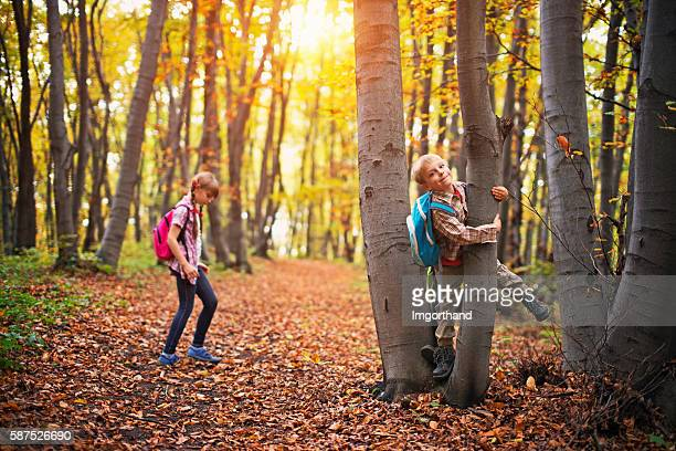 kids with backpacks playing in autumn forest - lane sisters stock photos and pictures
