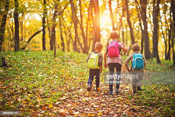 Kids with backpacks walking in autumn forest