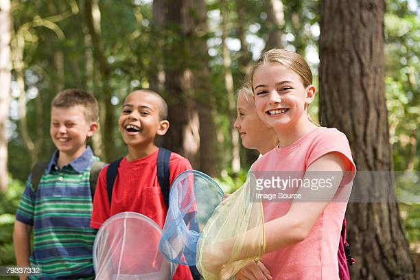 Kids with fishing nets