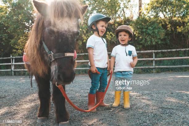 barn med ponny - pony play bildbanksfoton och bilder