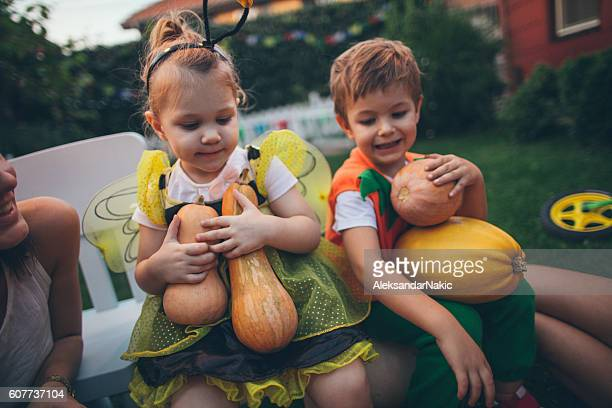 Kids with pumpkins ready for the Halloween
