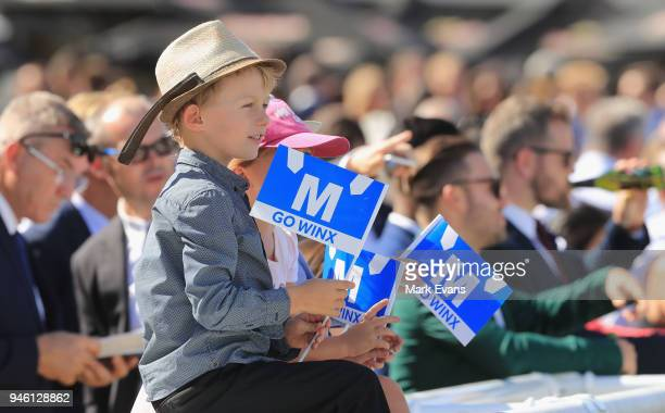 Kids with Winx flags during day two of The Championships as part of Sydney Racing at Royal Randwick Racecourse on April 14 2018 in Sydney Australia