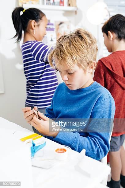 Kids working on a school project