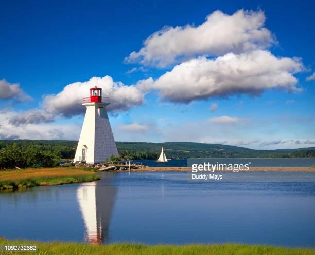 kidstone lighthouse, baddeck, cape breton island, nova scotia, canada - cape breton island stock pictures, royalty-free photos & images