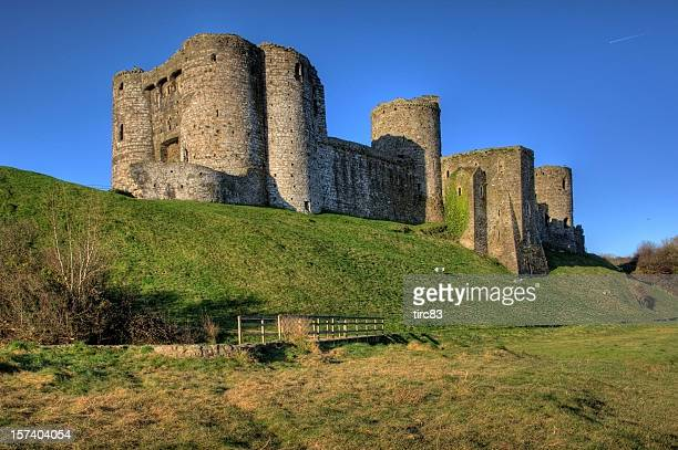 Kidwelly Castle and clear blue sky bridge