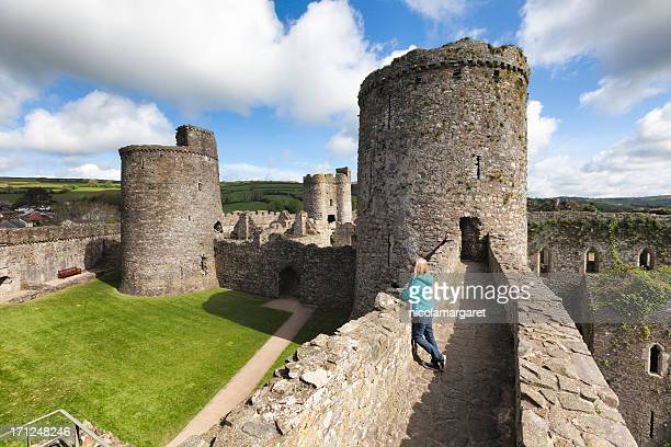 kidwelly castle, carmarthenshire, wales. - castle stock photos and pictures