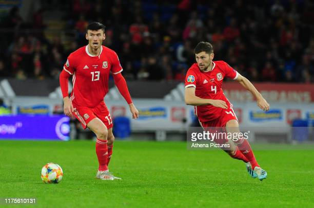 Kiefer Moore of Wales in action during the UEFA Euro 2020 Qualifier between Wales and Croatia at the Cardiff City Stadium on October 13, 2019 in...