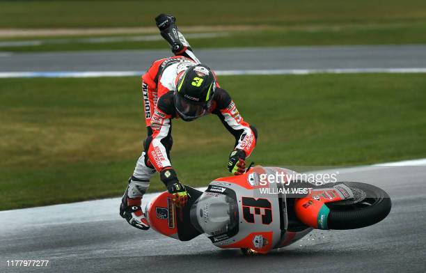 Kiefer Racing Moto2 rider Lukas Tulovic of Germany crashes during a practice session at Phillip Island on October 25 ahead of the MotoGP Australian...