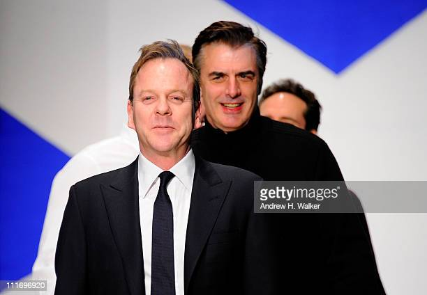 Kiefer Sutherland and Chris Noth walk the runway at the 9th Annual Dressed To Kilt charity fashion show at Hammerstein Ballroom on April 5 2011 in...