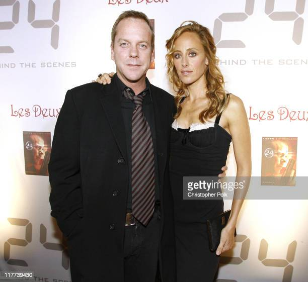 Kiefer Sutherland and Kim Raver during '24' Season Five DVD Release at Les Deux in Hollywood California United States
