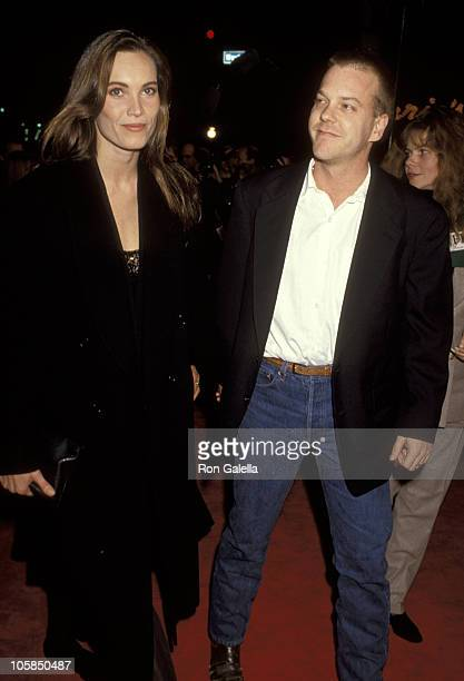 Kiefer Sutherland and Lisa Stothard during JFK Los Angeles Premiere at Mann's Village Theater in Westwood California United States