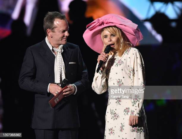 Kiefer Sutherland and Paloma Faith during The BRIT Awards 2020 at The O2 Arena on February 18, 2020 in London, England.