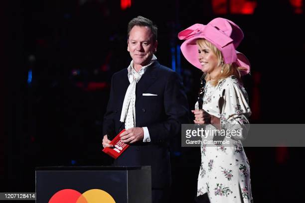 Kiefer Sutherland and Paloma Faith present the International Male Solo Artist award during The BRIT Awards 2020 at The O2 Arena on February 18, 2020...