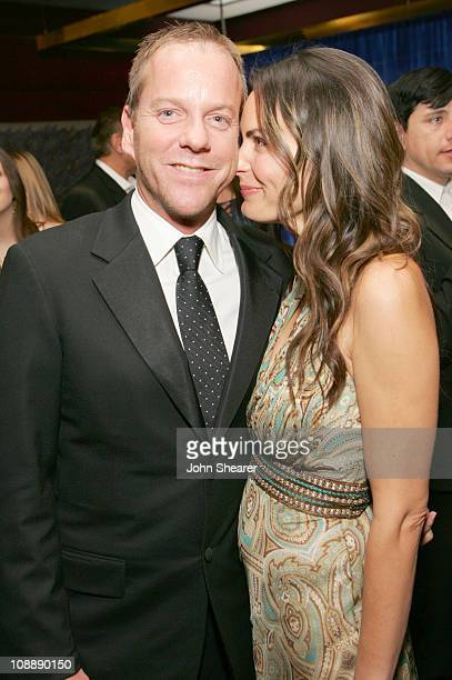 Kiefer Sutherland and Trisha Cardoso during InStyle Warner Bros 2006 Golden Globes After Party Inside at Beverly Hilton in Beverly Hills California...