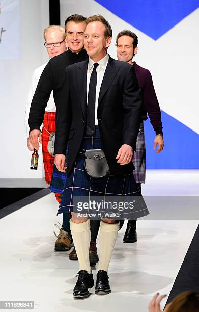 Kiefer Sutherland Chris Noth Jim Gaffigan and Jason Patric walk the runway at the 9th Annual Dressed To Kilt charity fashion show at Hammerstein...