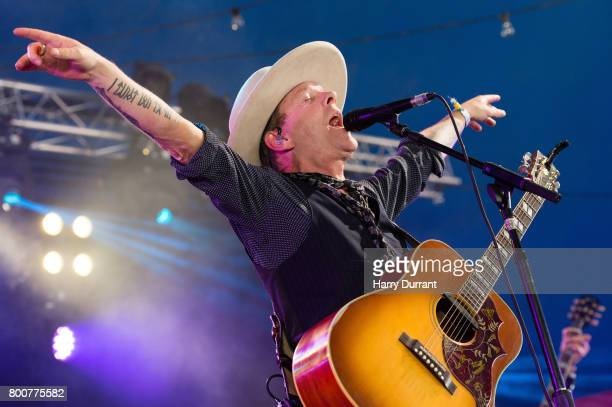 Kiefer Sutherland performs on Avalon Stage on day 4 of the Glastonbury Festival 2017 at Worthy Farm Pilton on June 25 2017 in Glastonbury England