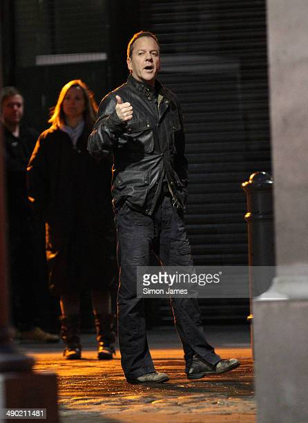 Kiefer Sutherland seen filming scenes for TV series '24' on May 13 2014 in London England